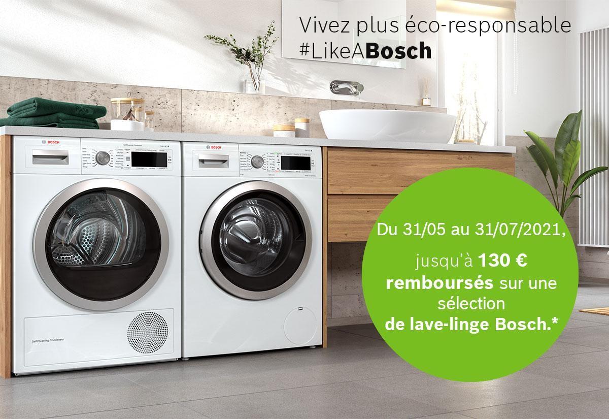 Du 31 mai au 31 juillet 2021, jusqu'à 130€ remboursés sur une sélection de lave-linge Bosch.