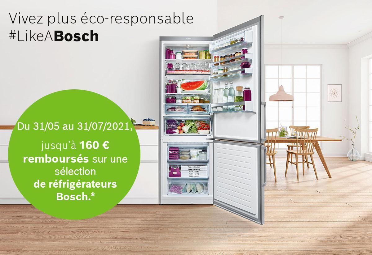 Du 31 mai au 31 juillet 2021, jusqu'à 160€ remboursés sur une sélection de réfrigérateurs Bosch.